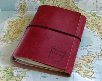 bucket list journal with maps as a travel journal in holiday edition - red