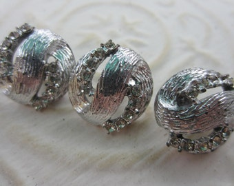 Vintage Button - 3 beautiful matching domed design rhinestone embellished, silver antique finish metal (lot apr85b)