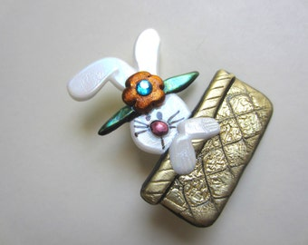 Easter Basket Bunny Pin Brooch