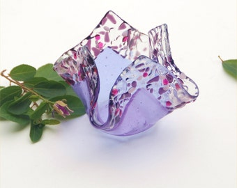 Fused glass candle holder, votive, folded square, light purple, transparent, pink and purple