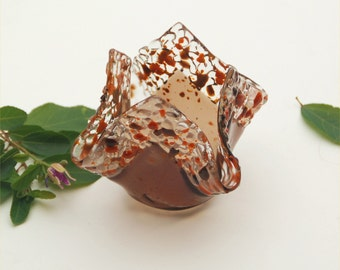 Fused glass candle holder, votive, folded square, brown, transparent