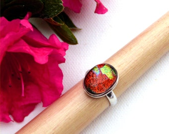 07 Fused dichroic glass ring, silver plated, size 7, orange red, rusty, gold