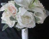 Reserved listing for....Crystal Ballister.....Dusty Miller Blush Peonies Realtouch Roses Calla lilies Bridal Bouquet Spring Winter Set