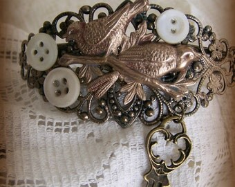 Steampunk Bracelet Vintage Style Altered Watch Face Bracelet Filigree Bird Bracelet Vintage Bracelet Ornate Charm Bracelet Cuff Bracelet