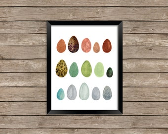 Rainbow Eggs Watercolor Illustration Print Wall Art Fine Art 5x7