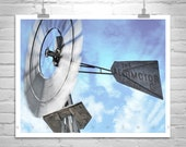 Windmill Wall Decor, Rustic Art, Aermotor, Windmill Picture, Farm, Ranch, Sky, Windy, Clouds, Black and White, Rural, Country, Rustic