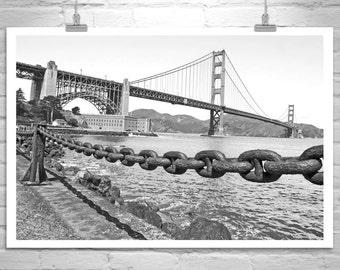 San Francisco Photography, Black and White, Golden Gate Bridge, Fort Point, California Art, San Francisco Bay, Fine Art Print, Bridge Art