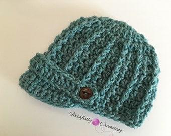 Newborn newsboy hat.. Brim beanie.. Photo prop. Ready to ship... Blue