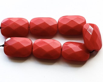 "Red Glass Beads, large faceted rectangle, 15x23mm, 6.75"" strand"