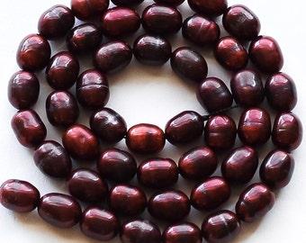 "Burgundy Freshwater Pearl Beads, 6-7mm, 13"" strand"