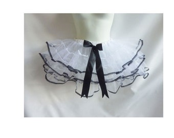 Vintage Petticoat One Size White Black Bow Crinoline Half Slip Cosplay maid