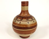 VTG. Color Block. brown tones + stripes mexican hand-painted primitive pottery ceramic vase. FOUNDbyLB