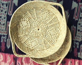 Vintage Wicker Low Basket Set w/Handles | 2 Low Woven Tray Rustic Primitive Southwest Straw Native Ranch Boho | vtg DECOR | FOUND by LB