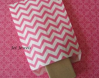 100 Paper Bags, Gift Bags, Chevron Paper Bags, Pink Paper Bags, Hot Pink Paper Bags, Candy Bags, Merchandise Bags, Retail Bags 5x7