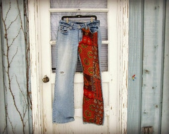 Lg. Wild Child Upcycled Bohemian Festival Blue Jeans// Boho Boot Cut size 12//emmevielle