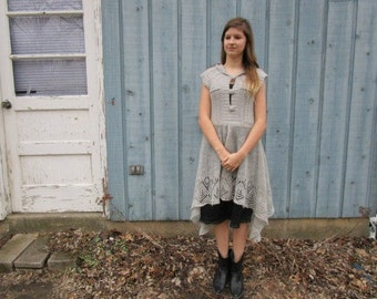 Small Hooded Dove Gray Upcycled Sweater Dress with Slip// Lightweight// emmevielle