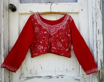 Med. Embroidered Red Upcycled Cotton Festival Cropped Top// emmevielle