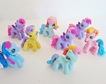MLP 8 My Little Pony PVC figurines, 2 inch Mini Small Ponies, Yellow Pink Purple Aqua Blue craft party supply favors cake topper kids toys