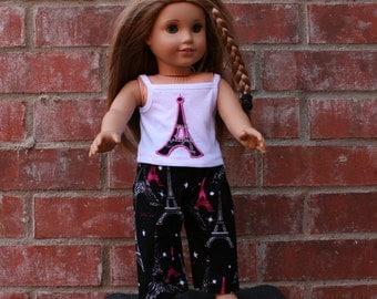 American Made Doll Eiffel Tower Pajamas, 18 inch Doll Clothes, Doll Pajamas, Doll PJ's