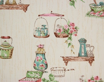1950s Vintage Wallpaper Pink and Blue Kitchen on Wood Grain by the Yard