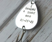 FREE SHIPPING- Personalized Handstamped Fishing Lure. Customized for you! Perfect Stocking Stuffer for Dad or Grandfather!