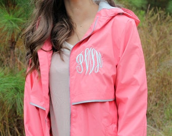 Monogrammed Rain Coat Jacket SALE Personalized Hood & Left Chest, Gifts for Mom, Gifts for her, Gift, Personalized Gift