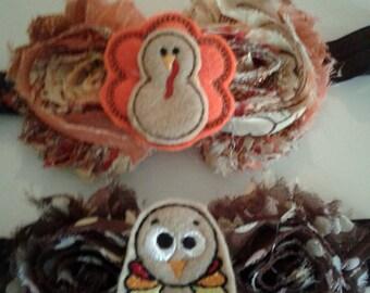 Thanksgiving Headbands, Handcrafted, Fall Headbands, Autumn Headbands, Turkey Headbands, Baby Headbands,Toddler headbands,Girls  Bands