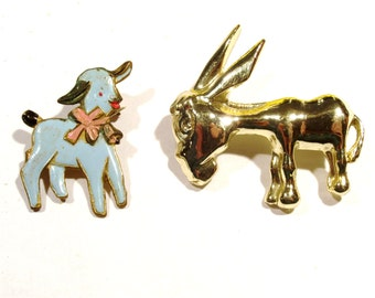 Lamb and Donkey vintage pins - Set of two