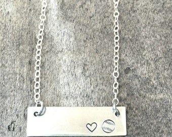 Sterling Silver Love Baseball Necklace