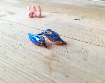 Vivid blue kingfisher stud earrings