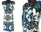60s Blue White and Green Geometric Floral Print Hawaiian Cotton Sundress Dress M L