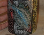 Beautiful Graphic Treatment on hand painted Fish Mug