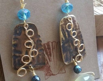 Hammered Copper Golden Brass Lemon Quartz and Blue Swarovski Crystal