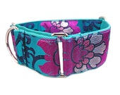 Martingale Collar for Girl Dogs - 2 Inch Dog Collar - Fancy Collar for Greyhound - Teal Green Dog Collar - Fuchsia Pink Dog Collar