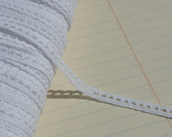"""White Cluny Lace - Narrow Natural Crochet Torchon Cluny Trim - 1/4"""" Wide"""