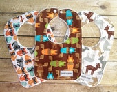 Baby Bib Set - Moose, Deer, Raccoons - Baby - Bib - Woodland Bib Set