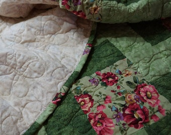 Quilt Modern Patchwork Pink Creme and Lavender Florals With Scrolling Vines