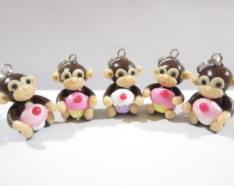 Cupcake Monkey Stitch Markers, cute charms funny knitting accessories, knit animal, gift for her knitter, cupcake food, unique polymer clay