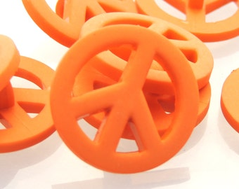 Orange Peace Buttons by Buttons Galore