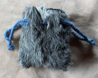 Vintage upcycled goat fur drawstring pouch with yarn drawstrings dice tarot runes crystals