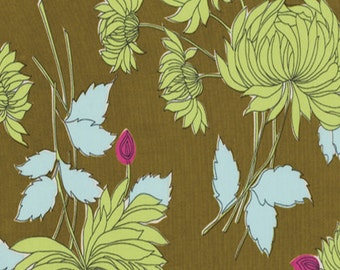 Amy Butler Belle Chrysanthemum in Olive PWAB115 100% Quilters Cotton Available in Fat Quarter, Half Yard, Yard