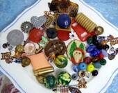 50 Little Treasures Found-In-the-Button Box-Bingo Ball-Sample lipstick-Glass Beads Pin-Lucky Coin-Tax Mils-Nursing Pin