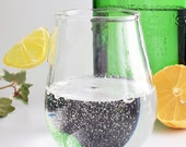 Hand blown glass tumbler with lemon handle, clear balloon glass, gin and tonic, perfect gift UK