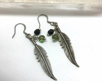 Feather Earrings, Loved and Remembered, Dangle and Drop Earrings, Dark Silver Ox, Black Faceted Bead & A Lovely Green, Great Meanings, USA
