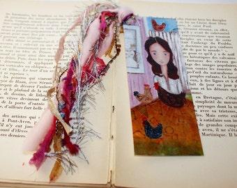 Happy Country Girl -  Laminated Bookmark  Handmade - Original Art by FLOR LARIOS