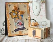 SALE Happy Haunting Shabby  Chic Handmade Card and Box