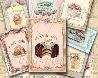 SWEET CAKES Collage Digital Images  -printable download  file-