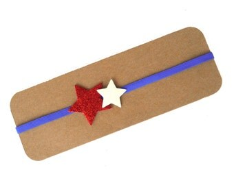 50% OFF Patriotic Glitter Star Headband | Red, White and Blue Star Headband | Glitter Star Headband | 4th of July Headband | Glitter Stars |