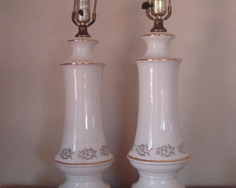 Pair of elegant table lamps - off white with gold