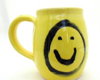 Handmade Pottery Mug Smiley Face  yellow Mug by Jewel Pottery